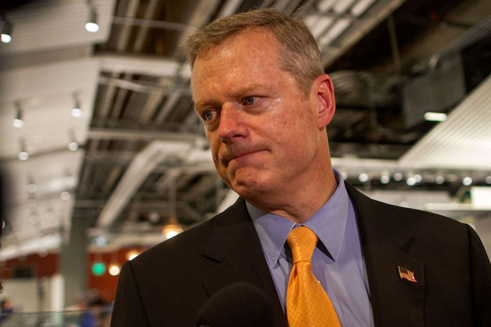 Governor Charlie Baker Wednesday night responded to LGBT activists who pushed him on his lack of support for the Transgender Public Accommodations Bill. (Hadley Green for WBUR)
