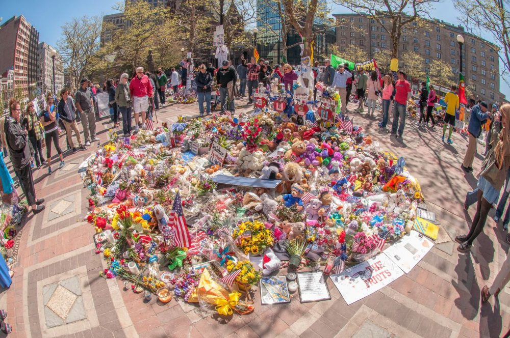 The makeshift memorial at Copley Square, photographed on May 4, 2013. (Courtesy Joshua Touster)