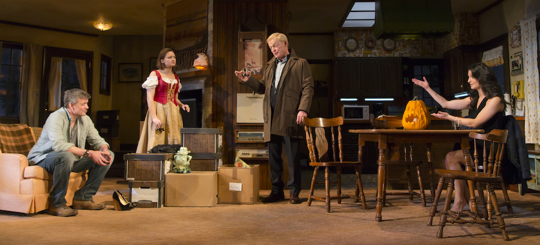 """From left to right, cast members Chris Henry Coffey, Tanya Fischer, Allyn Burrows and Meredith Forlenza in """"Can You Forgive Her?"""" at the Huntington. (Courtesy T. Charles Erickson/Huntington Theatre Company)"""