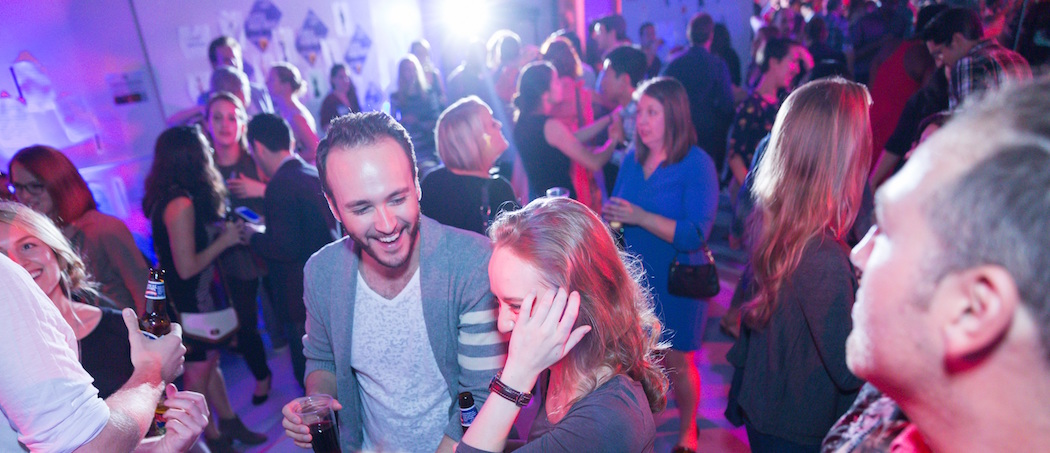 A party for Huntington Theatre Company's 35 Below club, part of the company's effort to attract younger patrons. (Courtesy Nile Hawver/Huntington Theatre Company)