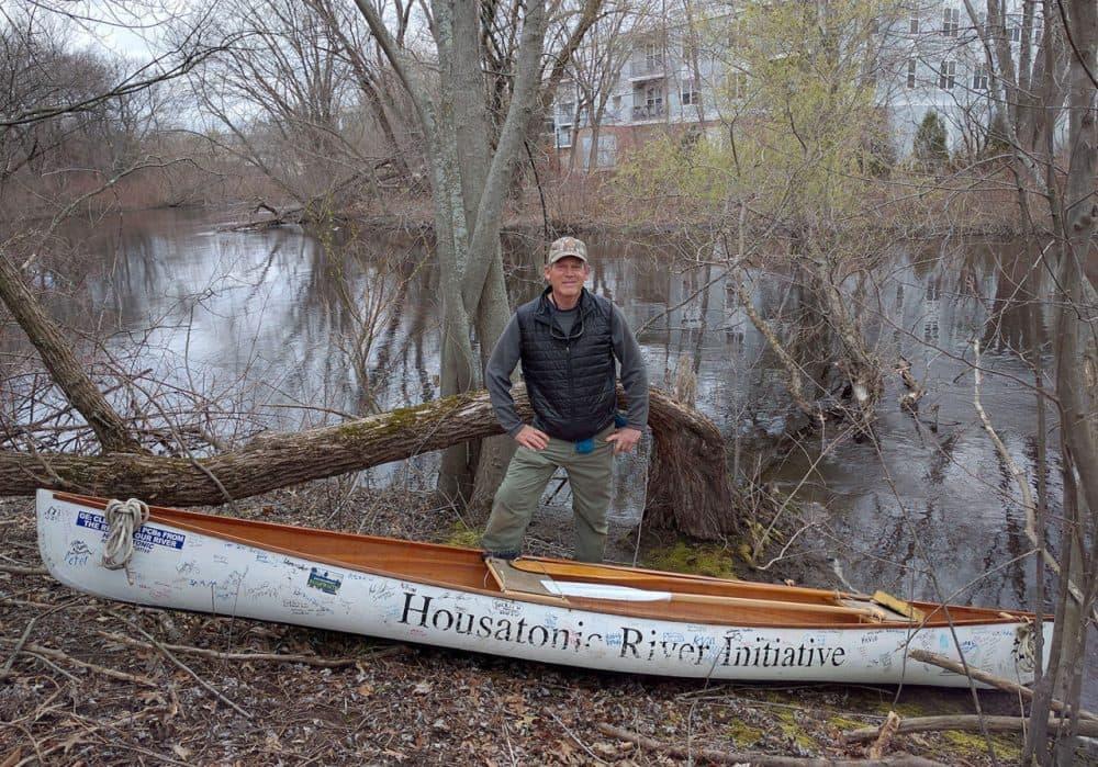 Denny Alsop near the Charles River in Newton (Deborah Becker/WBUR)