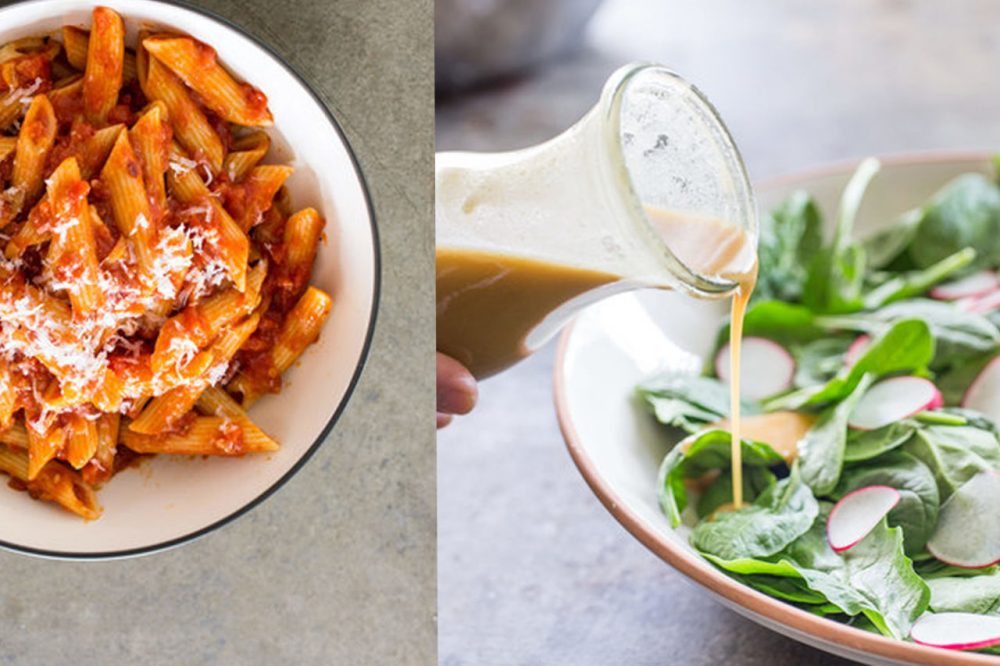 (IFrom Left) Penne Arrabbiata and a Make-Ahead Vinaigrette and Salad from Cook's Illustrated. (Courtesy Cook's Illustrated)