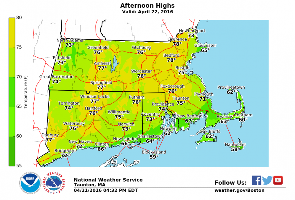 Predicted high temperatures for Friday. (Courtesy NOAA)