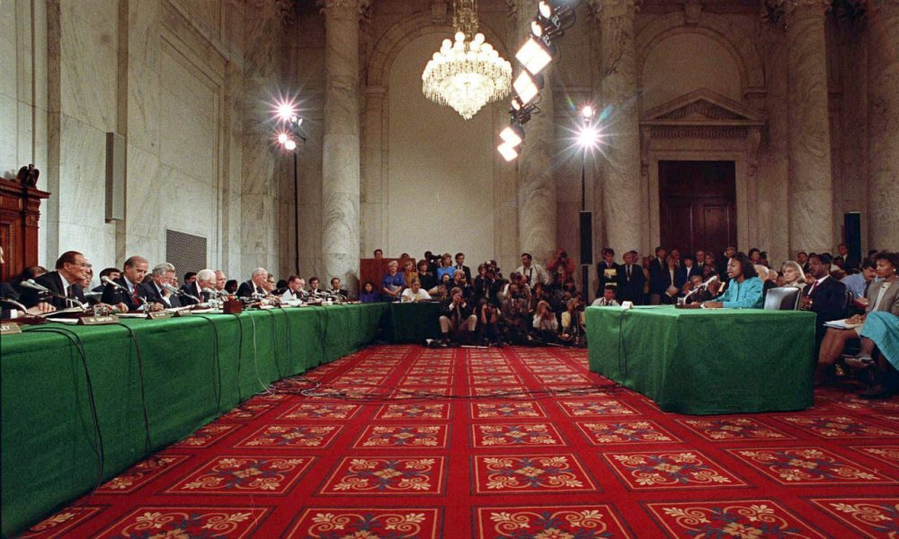 Anita Hill testifies in the Russell Caucus room on Capitol Hill where the Senate Judiciary Committee was hearing testimony on the nomination of Clarence Thomas for the Supreme Court in this Oct. 11, 1991 photo. (AP Photo/Greg Gibson, File)