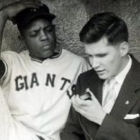 Throughout his career, baseball broadcaster Ed Lucas has had the opportunity to interview some of the game's greatest players, like Willie Mays. (Courtesy of Ed Lucas)