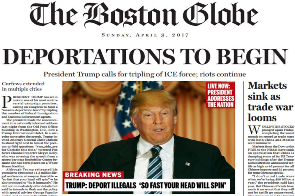 A portion of a satirical front page future issue of the Boston Globe, published Sunday, April 10, 2016. (Courtesy Boston Globe)