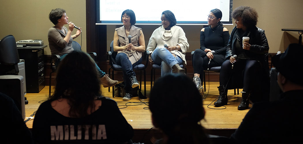 "Berklee College of Music student Haley Haerr-Hartmann moderates a panel at the ""Diversity in the Music Industry"" conference on April 2 with (from left) Becky Yee, a portrait photographer and the founder of Around Digital Media; Anastasia Wright, founder of the public relations management company IMG Agency; Elizabeth Chan, the self-described ""queen of Christmas"" and CEO of Merry Bright Music; and Militia Vox, frontwoman of Judas Priest tribute band Judas Priestess. (Courtesy of Emily Yang and Ei Mon Phyu)"
