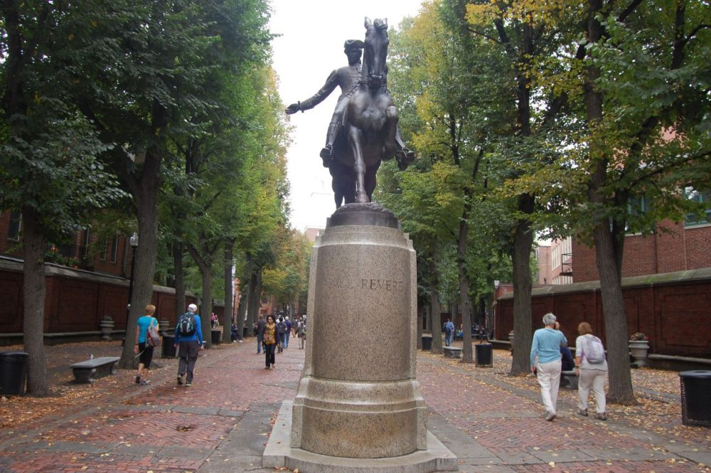 Statue of Paul Revere in Boston's North End. (WBUR)