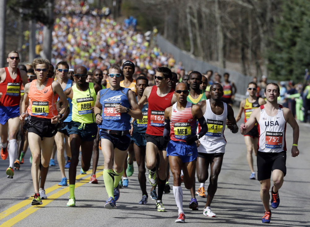 Runners compete in the 118th Boston Marathon in Hopkinton, Mass. Today kicks off the 120th running of the historic footrace. (Steven Senne/AP)