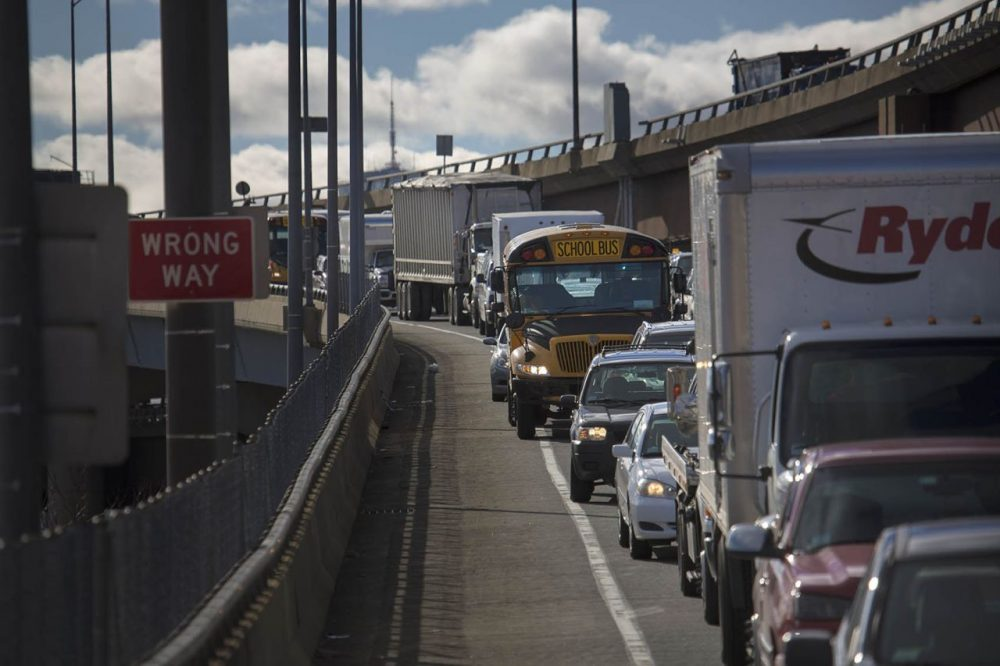 Traffic on the Sullivan Square off-ramp from Interstate 93 on to Cambridge Street in Charlestown at a standstill at 10:45 A.M. (Jesse Costa/WBUR)