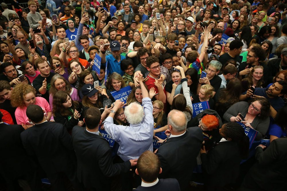Democratic presidential candidate Bernie Sanders (D-VT) shakes hands with people during a campaign rally at the Century Center on May 1, 2016 in South Bend, Indiana. Sanders continues to campaign leading up to the state of Indiana's primary day on Tuesday.  ( Joe Raedle/Getty Images)