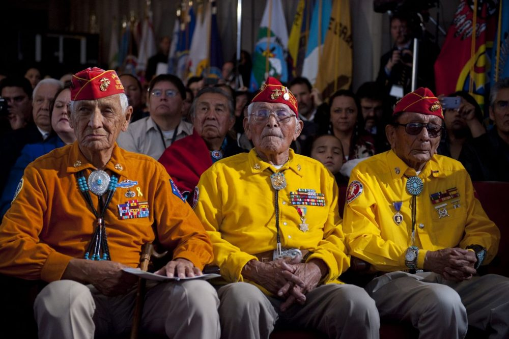 Native American members of the Navajo Code Talkers listen as US President Barack Obama speaks during the White House Tribal Nations Conference at the Department of the Interior in Washington, DC, December 16, 2010.  (Saul Loeb/AFP/Getty Images)
