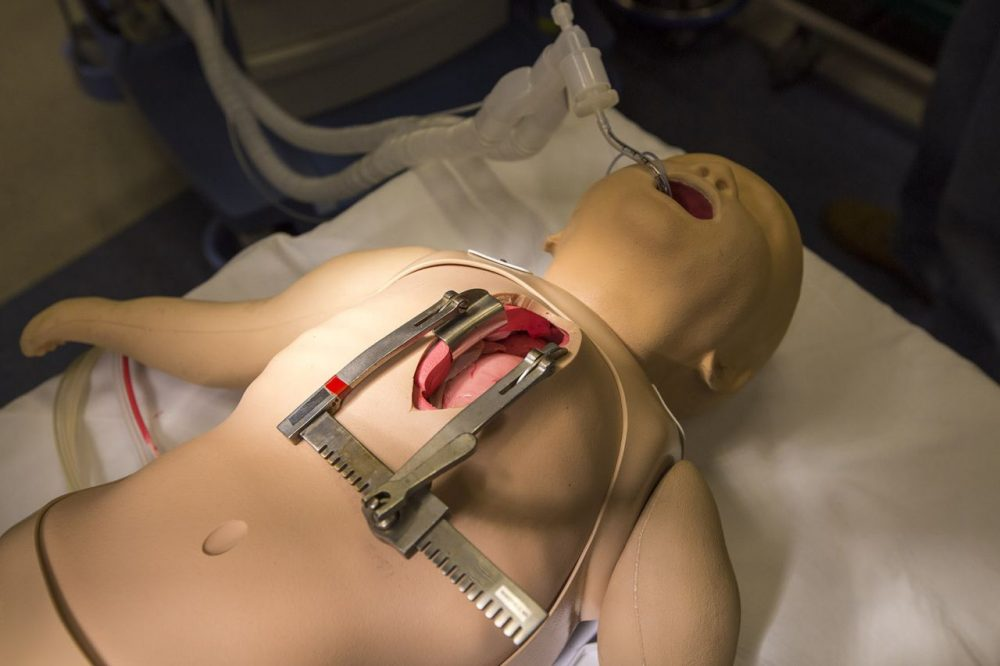 "A mannequin for practicing open heart surgery at the Boston Children's Hospital's recently unveiled simulation center. Called ""Surgical Sam,"" it has a life-sized ""heart"" that accurately mimics the beating motions of a healthy or abnormal human heart. (Jesse Costa/WBUR)"