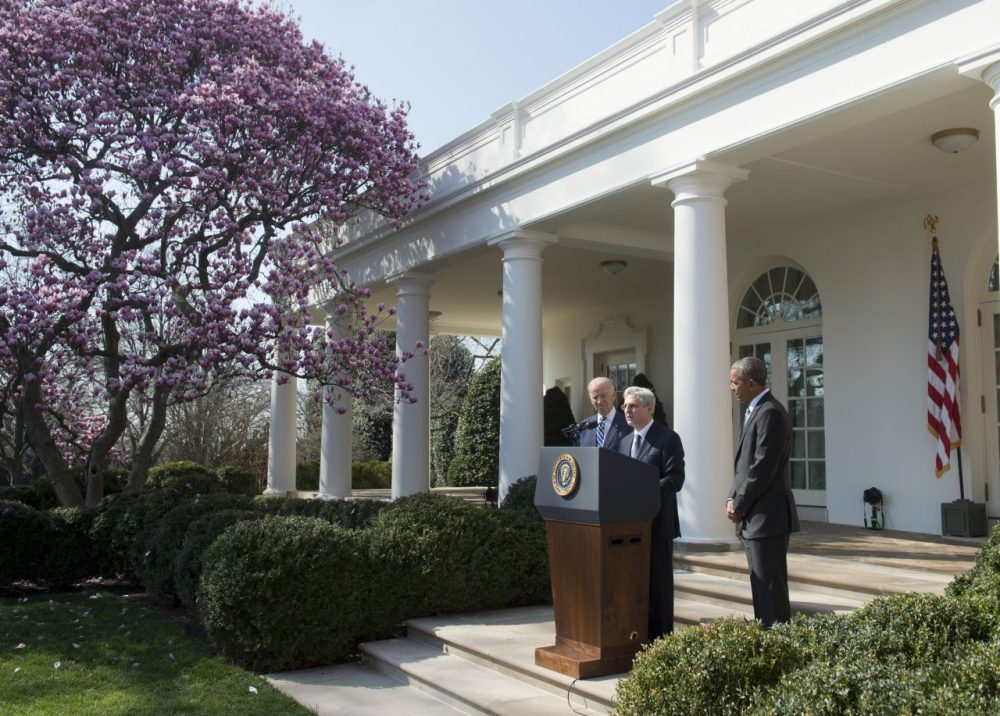 US Supreme Court nominee Judge Merrick Garland speaks after being nominated by US President Barack Obama in the Rose Garden of the White House in Washington, DC, March 16, 2016. (Saul Loeb/AFP/Getty Images)