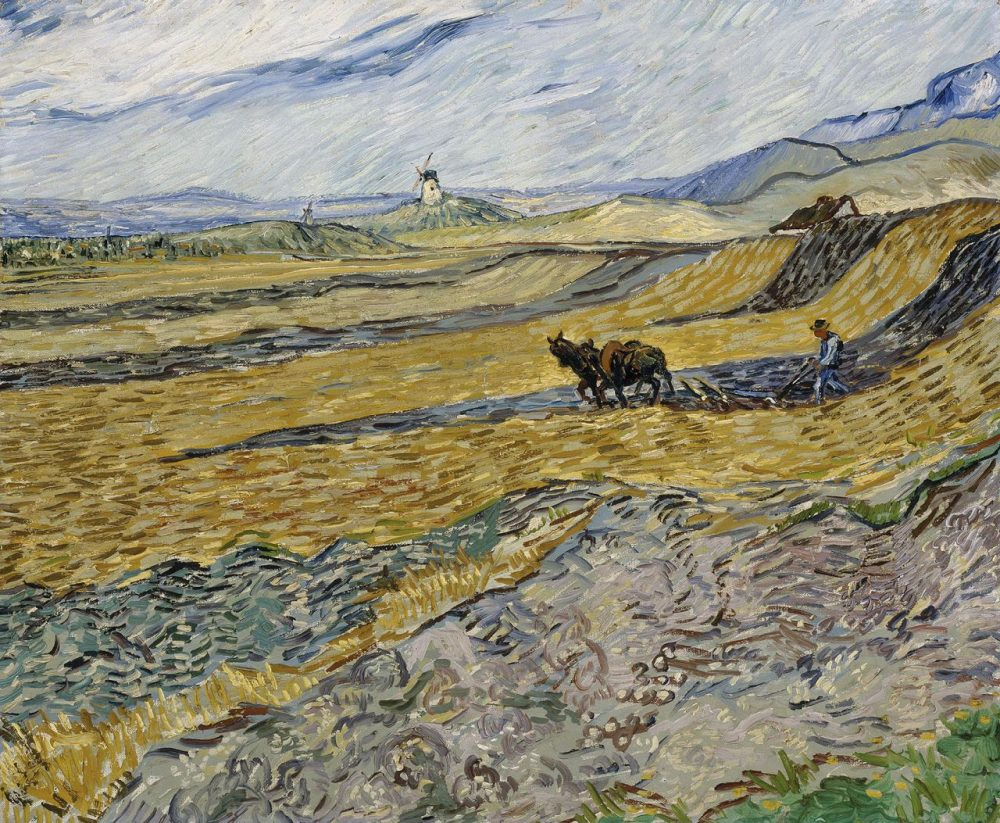 """""""Enclosed Field with Ploughman"""" (1889). Van Gogh painted this view from his window at an asylum in southern France. (Courtesy of Museum of Fine Arts, Boston)"""
