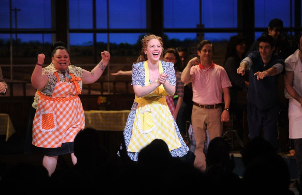 (L-R) Actors Jessie Mueller; Keala Settle; Kimiko Glenn attends 'Waitress' Broadway opening night curtain call at The Brooks Atkinson Theatre on April 24, 2016 in New York City. (Brad Barket/Getty Images)