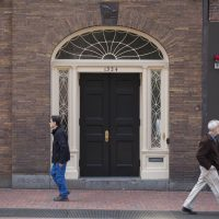 The door of the Porcellian Club, an all-male final club at Harvard University. (Jesse Costa/WBUR)