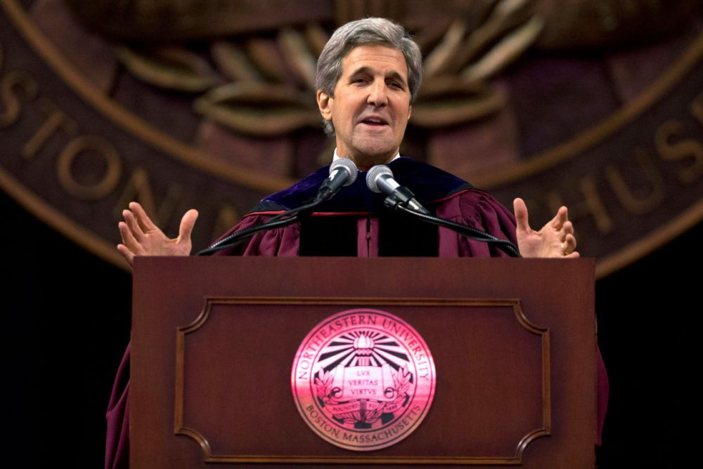 Secretary of State John Kerry gives the keynote address during Northeastern University's commencement ceremonies in Boston on Friday. (Michael Dwyer/AP)