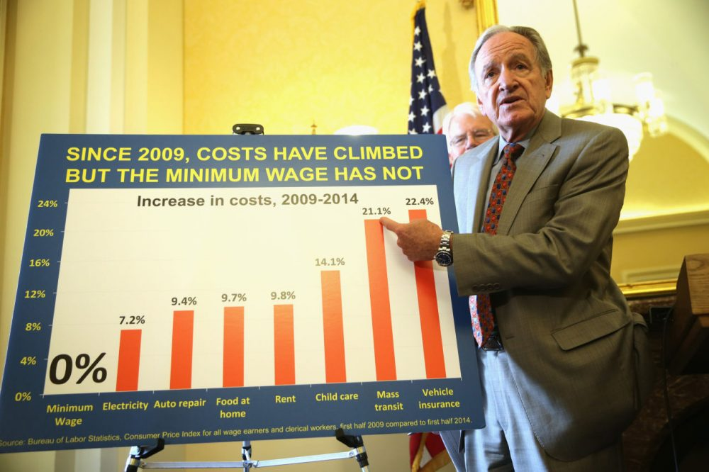 U.S. Sen. Tom Harkin (D-IA) (R) points to a chart as Rep. George Miller (D-CA) (L) looks on during a news conference July 24, 2014 on Capitol Hill in Washington, DC. The news conference was to call on Congress to raise the national minimum wage.  (Alex Wong/Getty Images)