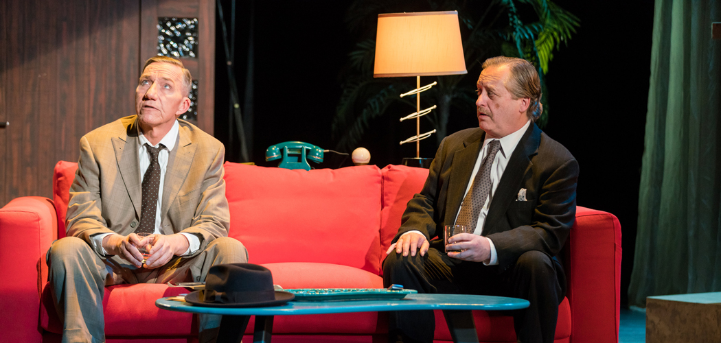 "Alexander Cook (left) is New York City police detective  Mark McPherson and Steven Barkhimer is  Waldo Lydecker in Stoneham Theatre's production of ""Laura."" (Courtesy Nile Hawver/Nile Scott Shots)"