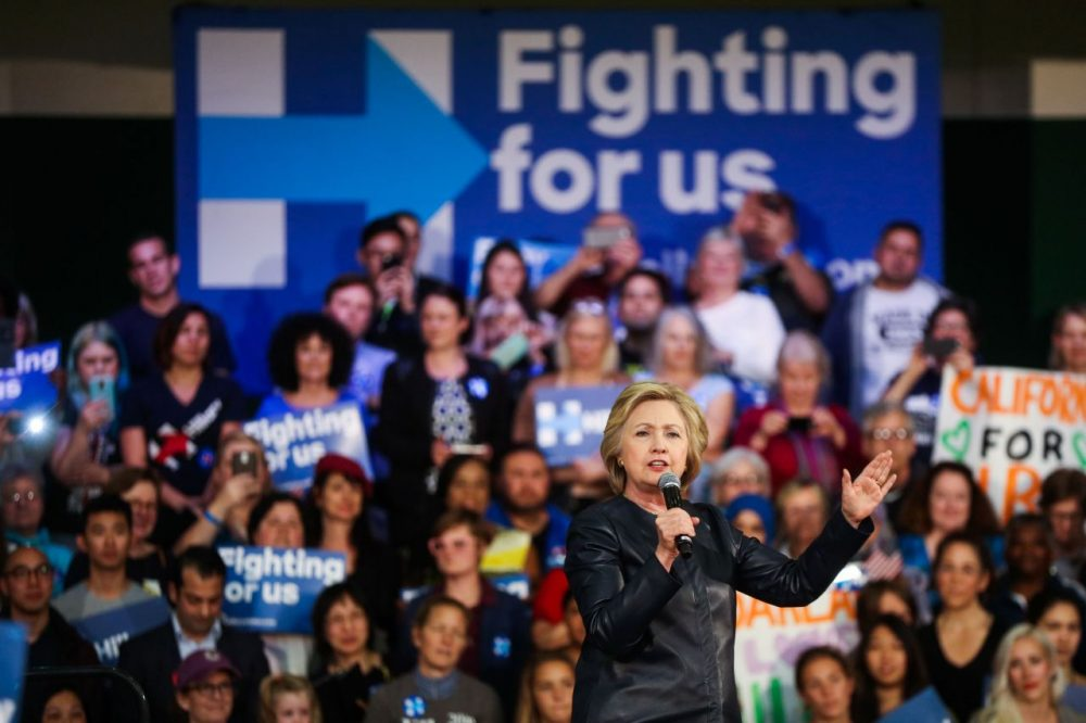 Democratic presidential candidate Hillary Clinton speaks to supporters during a rally in Oakland, California, on May 6, 2016.  (Gabrielle Lurie/AFP/Getty Images)
