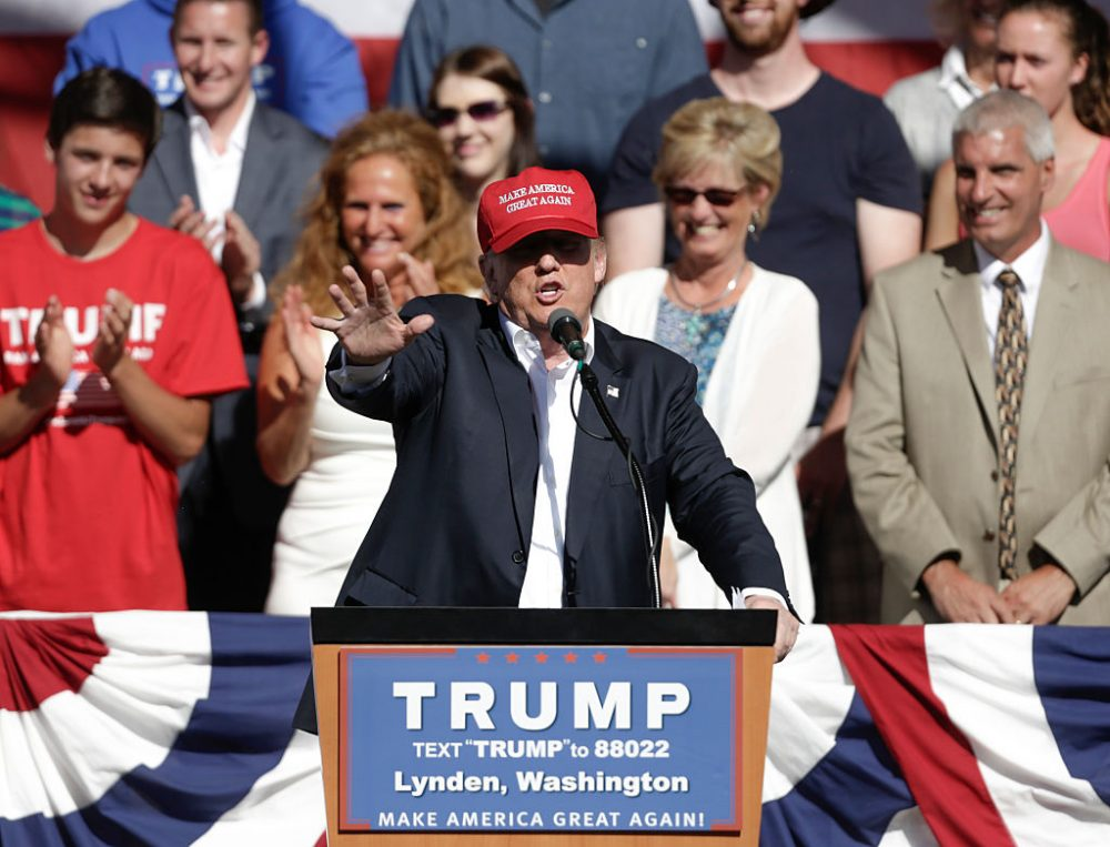 US Republican presidential candidate Donald Trump addresses a campaign stop at the Northwest Washington Fair and Event Center in Lynden, Washington on May 7, 2016. (JASON REDMOND/AFP/Getty Images)
