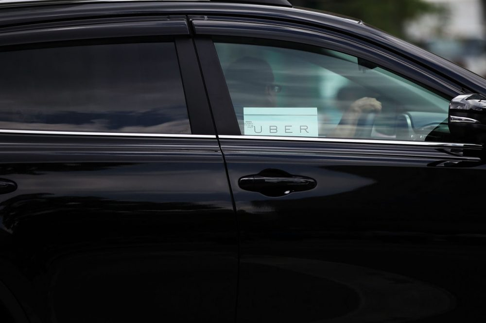 An Uber vehicle is viewed in Manhattan on July 20, 2015 in New York City.  (Spencer Platt/Getty Images)