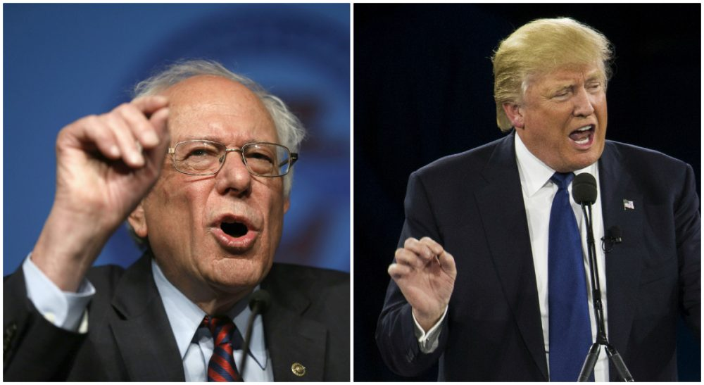 Left, Republican presidential candidate Donald Trump speaks in Washington on March 21, 2016. Right, Democratic presidential candidate Bernie Sanders speaks in Philadelphia on April 7, 2016. (Both photos/AP)