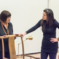 """Eve Ensler talking with A.R.T. artistic director Diane Paulus in a rehearsal for her show, """"In the Body of the World."""" (Courtesy Ashley Garrett/A.R.T.)"""
