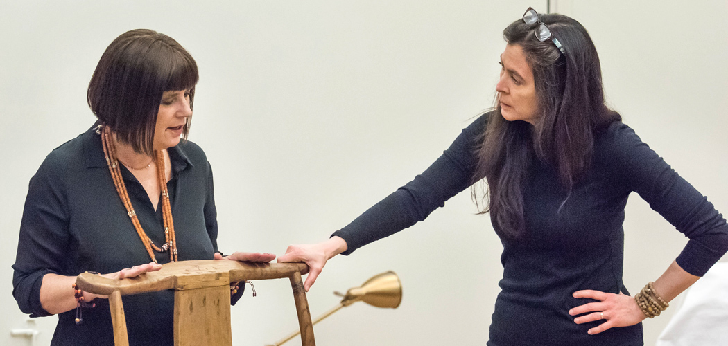 "Eve Ensler talking with A.R.T. artistic director Diane Paulus in a rehearsal for her show, ""In the Body of the World."" (Courtesy Ashley Garrett/A.R.T.)"
