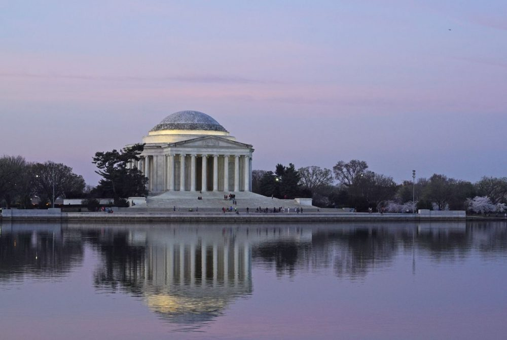 A March 24, 2016 photo shows the Jefferson Memorial at dawn on March 24, 2016 in Washington, DC. (Mandel Ngan /AFP/Getty Images)