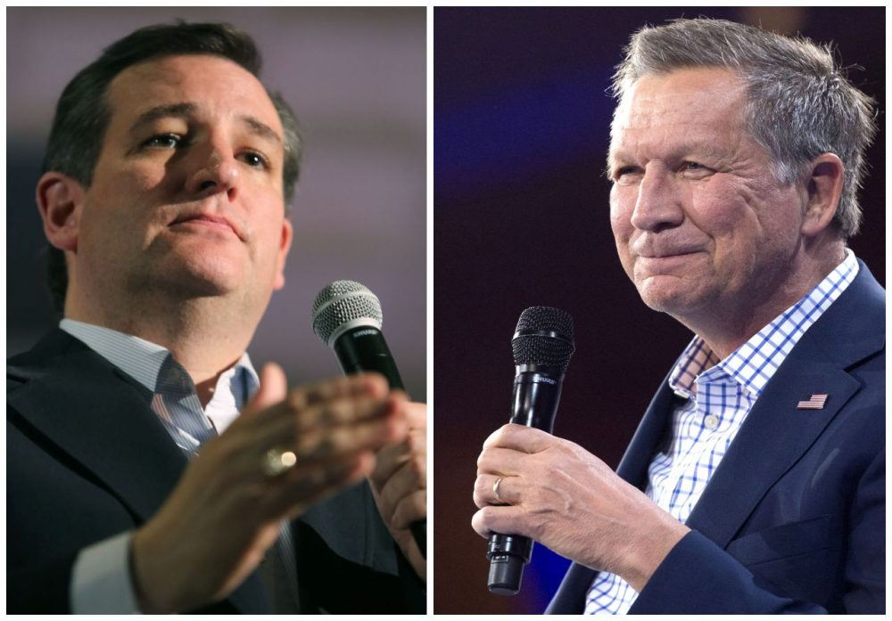 This combination of file photos shows former Republican presidential candidates Ted Cruz(L) and John Kasich. (DSK/AFP/Getty Images)