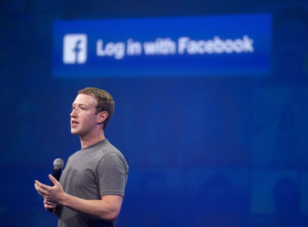 Facebook CEO Mark Zuckerberg speaks at the F8 summit in San Francisco, California, on March 25, 2015. Zuckerberg introduced a new messenger platform at the event.  (Josh Edelson/AFP/Getty Images)