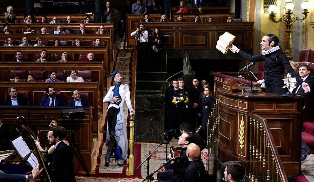 "Actors recite passages of the book ""Don Quixote"" as they perform during a commemoration of the 400th anniversary of Spanish writer Miguel de Cervantes' death at Las Cortes (Spanish parliament) in Madrid on April 21, 2016. This week Spain marks the fourth centenary of the death of Miguel de Cervantes, the author of the world-famous novel ""Don Quixote"", who died on April 22, 1616 in Madrid but the event has always been commemorated on the 23rd -- the day when he was buried -- coinciding with the passing of British literary co-star Shakespeare. (GERARD JULIEN/AFP/Getty Images)"