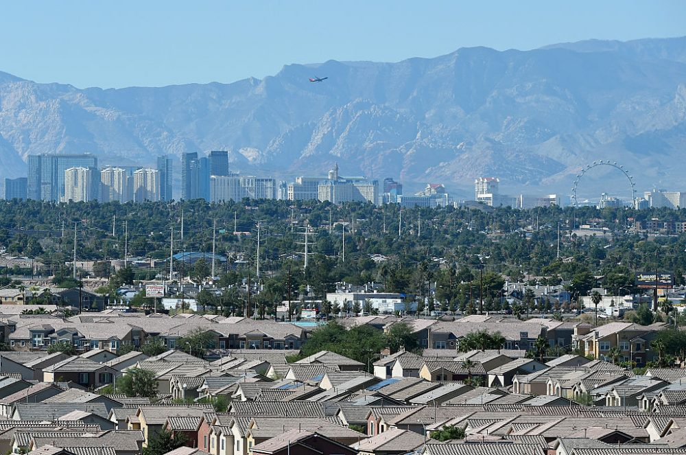 A general view from Sam Boyd Stadium shows the Las Vegas Strip behind homes on October 31, 2015 in Las Vegas, Nevada  (Ethan Miller/Getty Images)