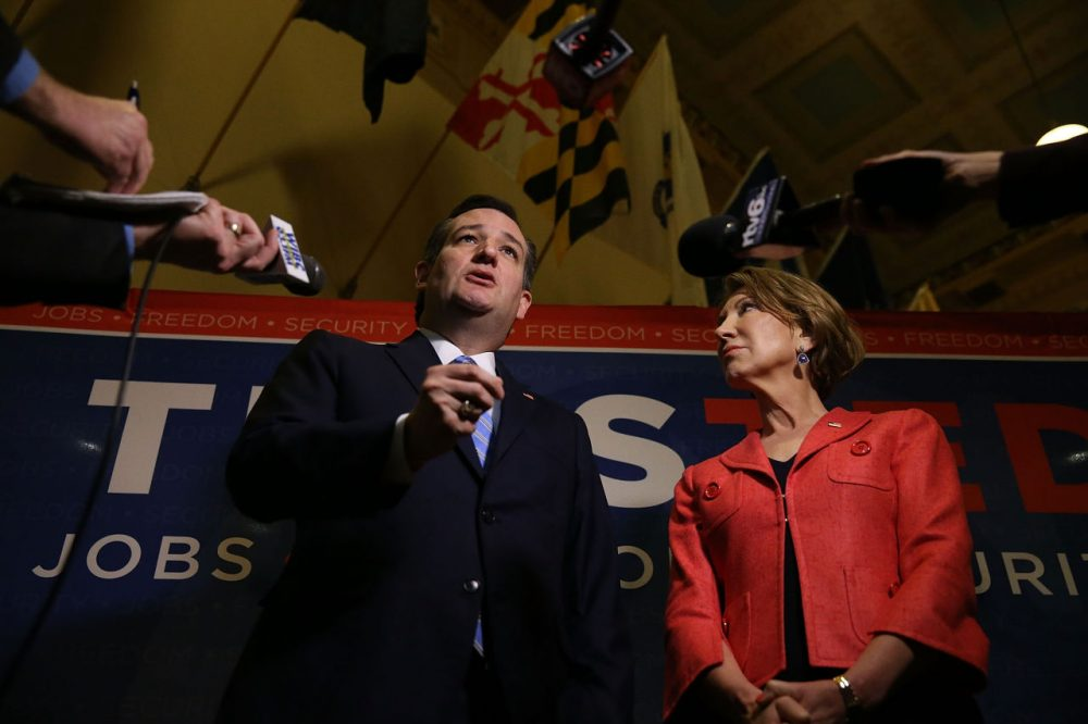 Former Republican presidential candidate Sen. Ted Cruz (R-TX) and his Vice Presidential candidate, former Hewlett-Packard chief executive Carly Fiorina, speak with the media before participating in a taping of Fox News Channel's The Sean Hannity Show at the Indiana War Memorial on April 29, 2016 in Indianapolis, Indiana. (Joe Raedle/Getty Images)