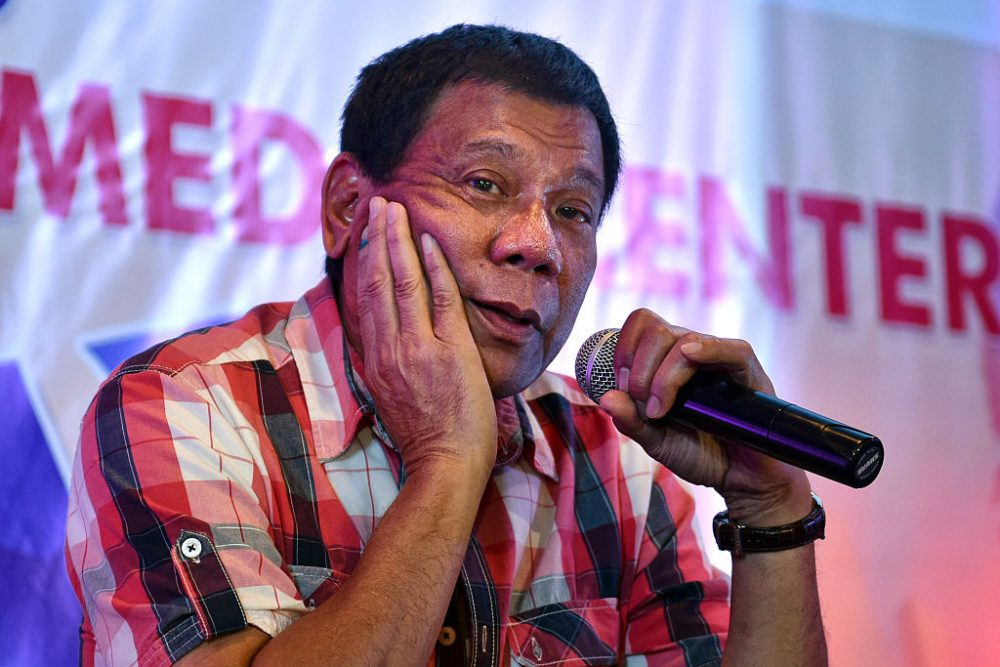 Rodrigo Duterte answers questions from journalists during a press conference on May 10, 2016 in Davao City, Philippines. Duterte is set to become the Philippines' next president after Monday's election. (Jes Aznar/Getty Images)