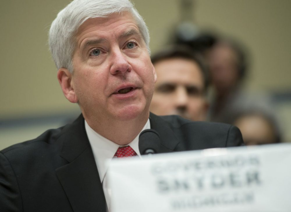 Michigan Governor Rick Snyder testifies on the tainted water scandal in the city of Flint, Michigan, during a House Oversight and Government Reform Committee hearing on Capitol Hill in Washington, DC, March 17, 2016. (Saul Loeb/AFP/Getty Images)