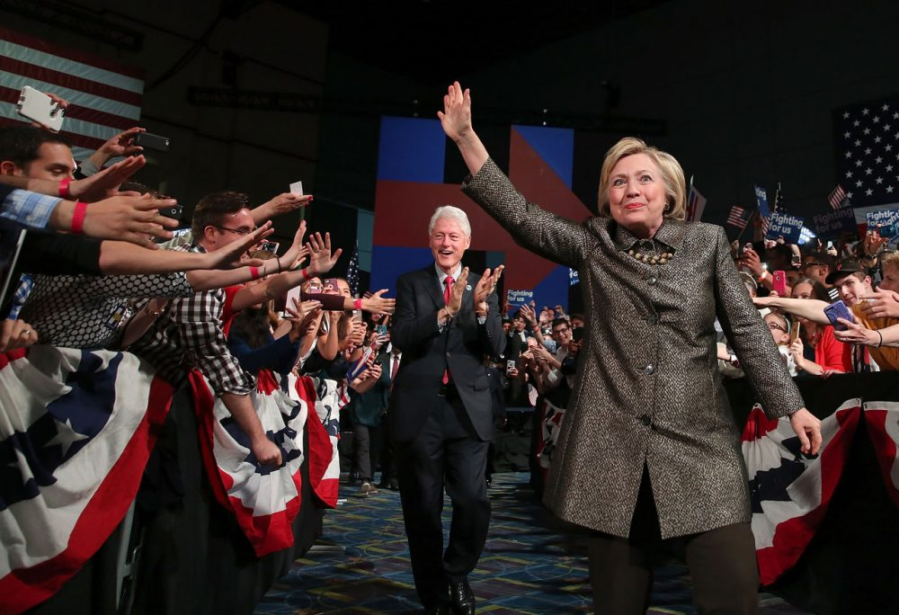 Democratic presidential candidate Hillary Clinton and former U.S. president Bill Clinton greet supporters during a primary night gathering at the Philadelphia Convention Center on April 26, 2016 in Philadelphia, Pennsylvania. Clinton defeated her democratic rival Sen. Bernie Sanders (D-VT) in the Pennsylvania presidential primary.  (Justin Sullivan/Getty Images)