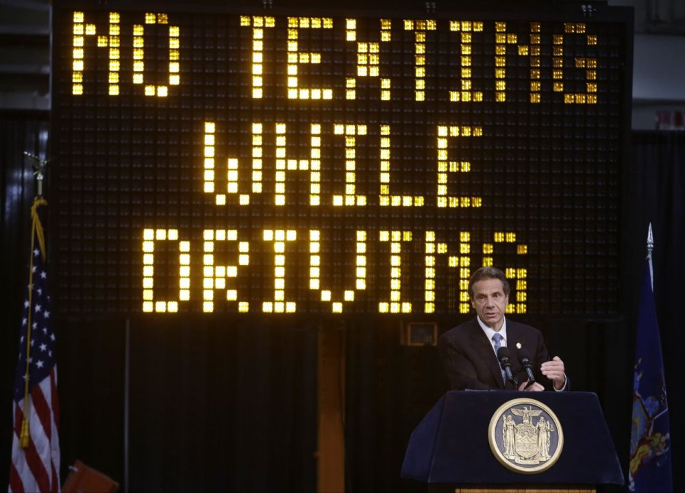 New York Gov. Andrew Cuomo speaks during a news conference to announce the increase in penalties for texting while driving. (Frank Franklin II/AP)