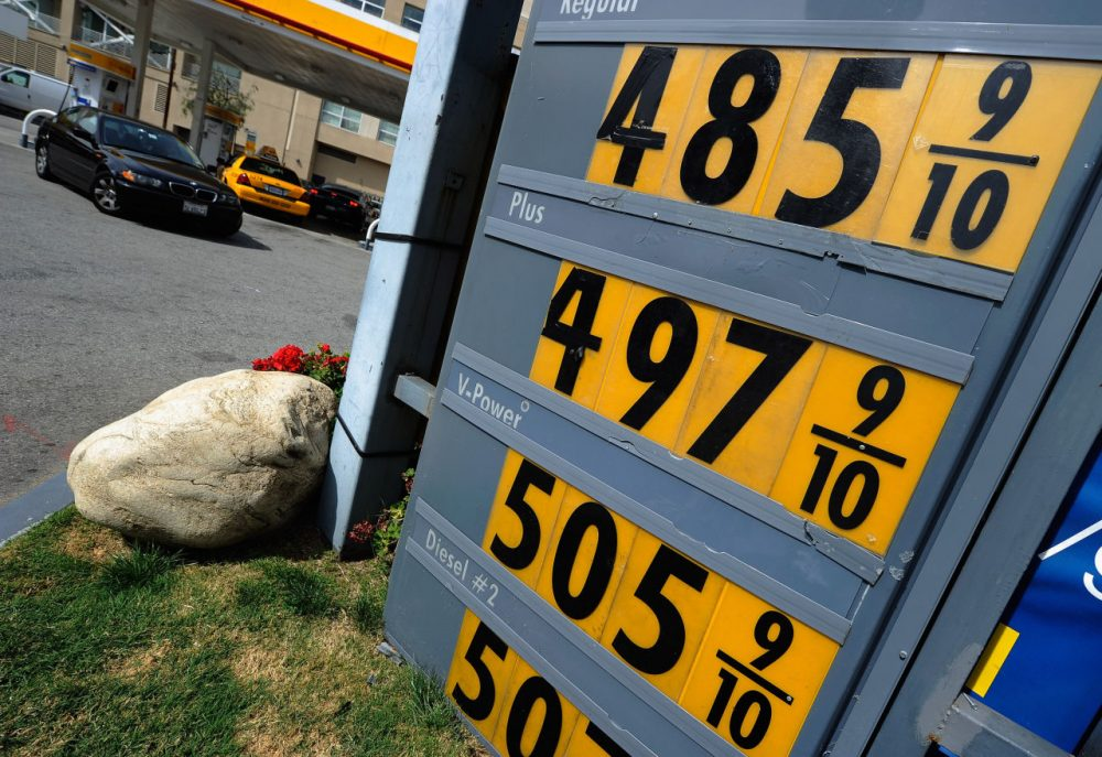 A sign shows gas prices nearing $5 a gallon for regular unleaded at a Shell service station on March 5, 2012 in Los Angeles, California. According to AAA the average price of regular unleaded gasoline climbed three-tenths of a cent nationwide as a result of high oil prices and tensions tied to Iran's nuclear program.  (Kevork Djansezian/Getty Images)