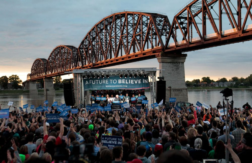 Democratic presidential candidate Bernie Sanders addresses the crowd during a campaign rally at the Big Four Lawn park May 3, 2016 in Louisville, Kentucky. Sanders is preparing for Kentucky's May 17th primary. (John Sommers II/Getty Images)