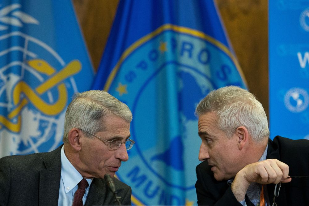 Dr. Anthony Fauci, director of the National Institute of Allergy and Infectious Diseases (NIAD), speaks with Dr. Sylvain Aldighieri, Zika Incident Manager for the Pan American Health Organization (PAHO), during a media briefing concerning the Zika virus, at the Pan American Health Organization headquarters, May 3, 2016, in Washington, DC. (Drew Angerer/Getty Images)