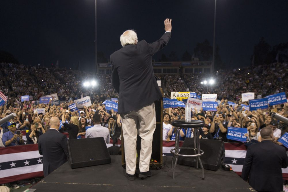 Democratic presidential candidate Sen. Bernie Sanders appears at a campaign rally at California State University, Dominguez Hills on May 17, 2016 in Carson, California. Candidates are campaigning for the June 7 California presidential primary election.  (Photo David McNew/Getty Images)