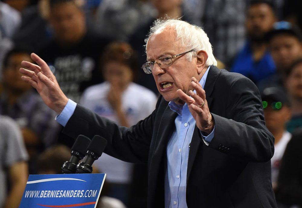 Democratic presidential candidate Bernie Sanders addresses a primary night election rally in Carson, California, May 17, 2016.   Sanders scored a decisive victory over Hillary Clinton in the Democratic primary in Oregon, boosting his argument for keeping his underdog campaign alive through the conclusion of the primary process.  Several US networks called the Pacific northwest state for the liberal Sanders, who was leading the former secretary of state 53 percent to 47 percent. Earlier in the night, Clinton claimed victory in an extraordinarily tight race in the state of Kentucky. (ROBYN BECK/AFP/Getty Images)