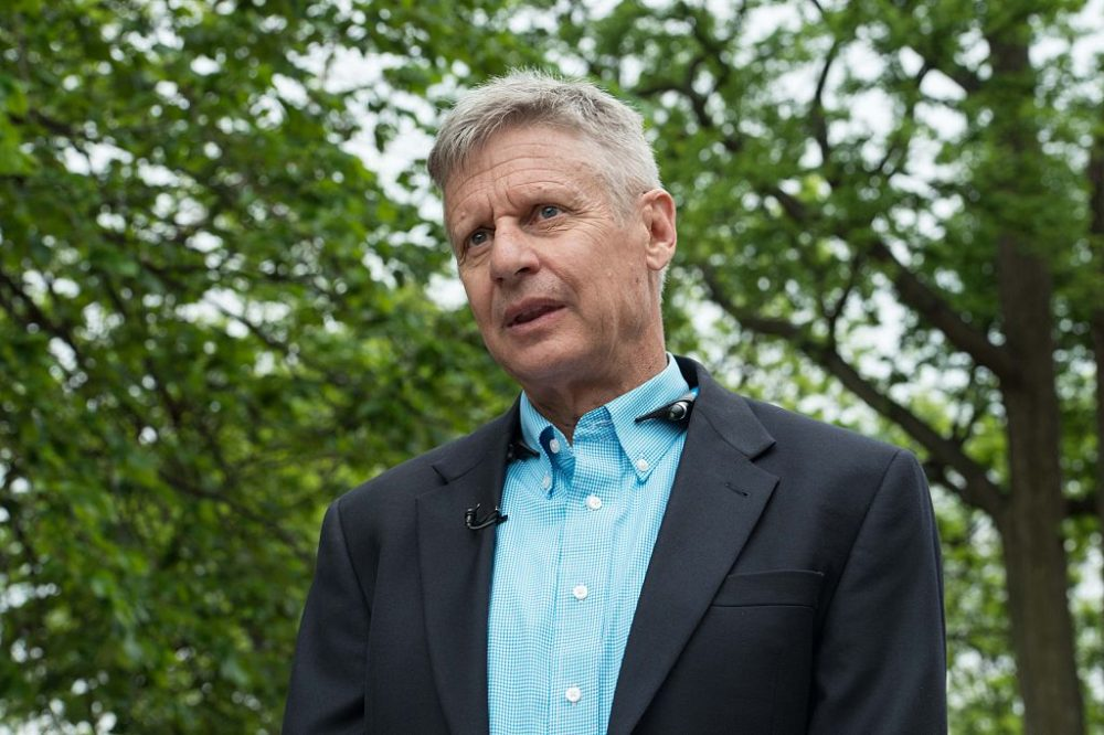 US Libertarian Party presidential candidate Gary Johnson speaks to AFP during an interview in Washington, DC, on May 9, 2016. Former New Mexico Gov. Gary Johnson is running for president as a Libertarian, just as he did 2012 when he managed to get 1.2 million votes. Regardless of his chances of a win, Johnson is reaching out to undecided Republican voters who are looking for a third-party option and are unconvinced that Donald Trump is the answer. (NICHOLAS KAMM/AFP/Getty Images)