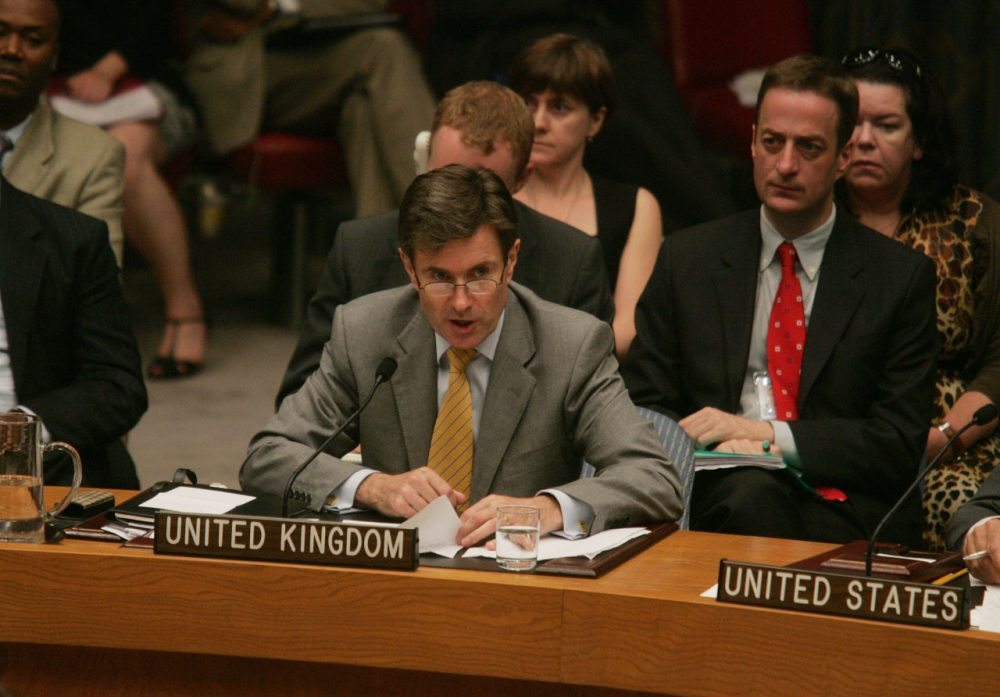 British Permanent Representative to the United Nations John Sawers speaks during a meeting of the Security Council at the United Nations July 11, 2008 in New York City.  China and Russia vetoed a U.S. draft resolution to impose sanctions against the government of Zimbabwe. (Hiroko Masuike/Getty Images)