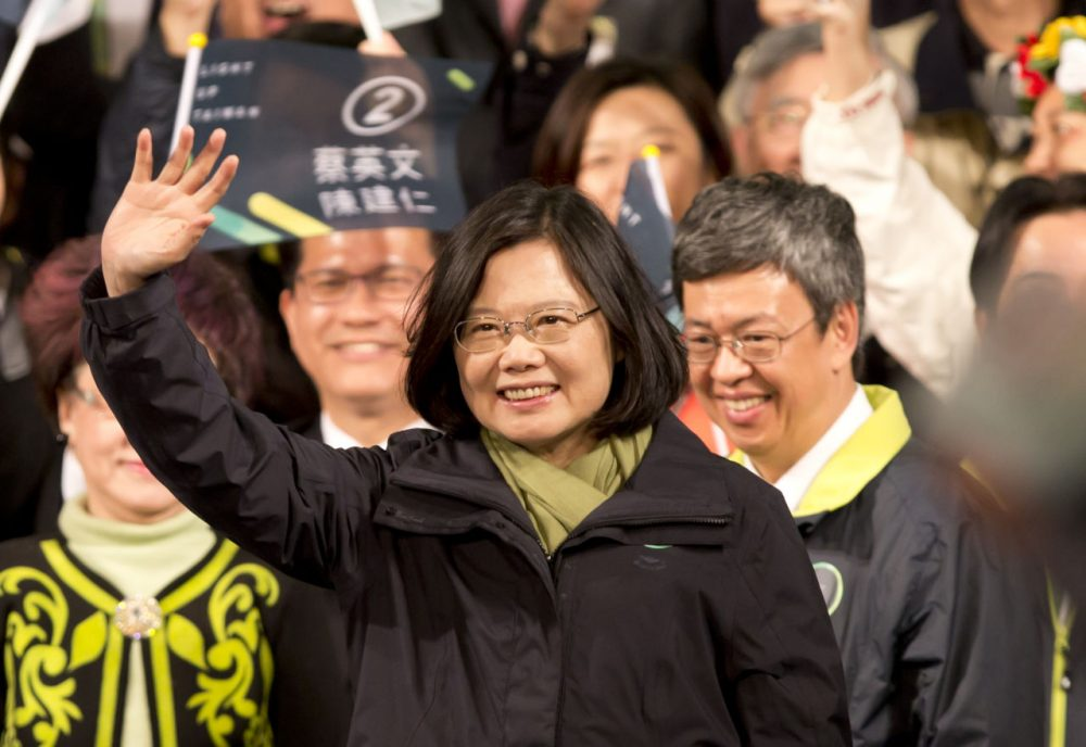 President-elect Tsai Ing-wen waves supporters at DPP headquarter on January 16, 2016 in Taipei, Taiwan. Tsai Ing-wen, the chairwoman of the opposition Democratic Progressive Party, won the presidential election to become the Taiwan's first female leader.  (Ashley Pon/Getty Images)