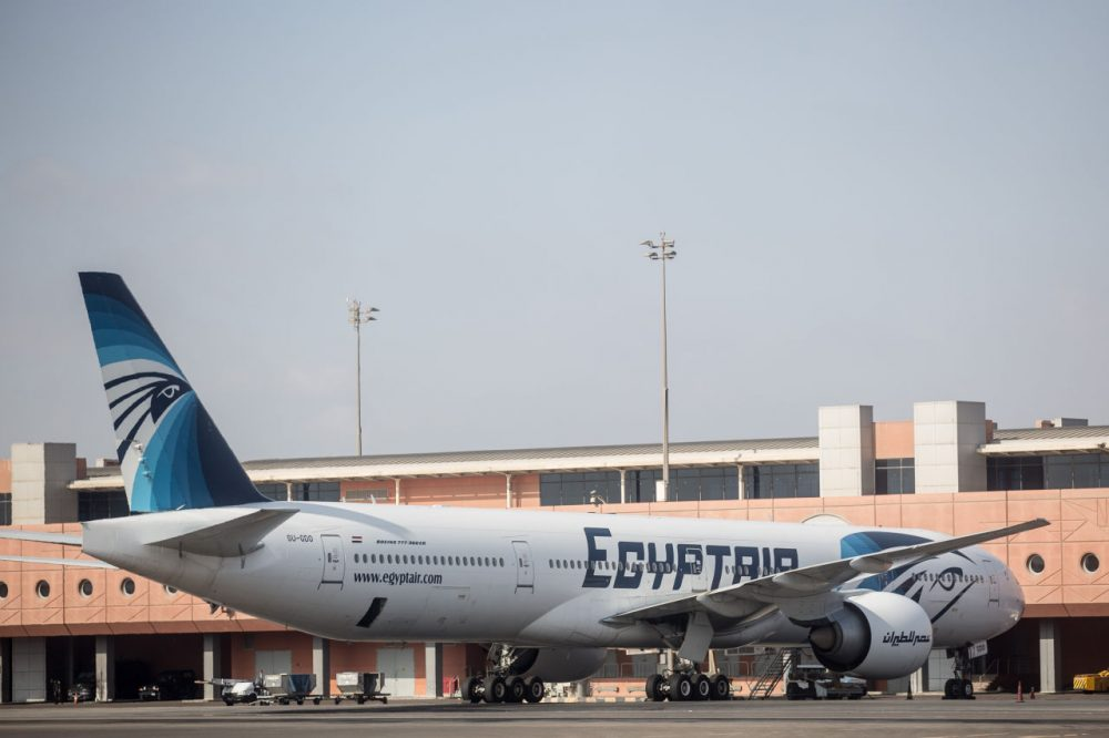 An EgyptAir plane is seen parked the terminal at Cairo International Airport on May 20, 2016. Debris including seats and personal belongings from EgyptAir Flight 804 which crashed in the Mediterranean carrying 66 people on Thursday was found 180 miles north of Alexandria, Egyptian military confirmed.  (Chris McGrath/Getty Images)