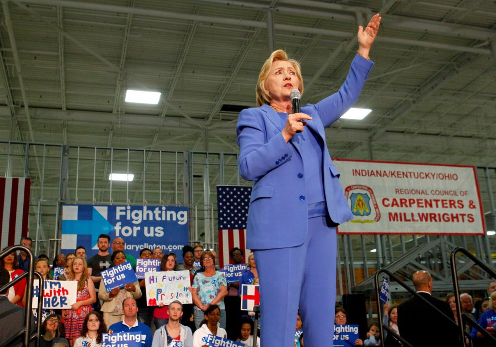 Democratic presidential candidate Hillary Clinton addresses the crowd during a campaign stop at the Union of Carpenters and Millwrights Training Center May 15, 2016 in Louisville, Kentucky. Clinton is preparing for Kentucky's May 17th primary. (John Sommers II/Getty Images)